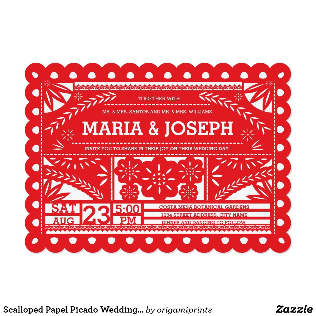 Scalloped Papel Picado Wedding Invite - Red | Pinterest | Papel ...