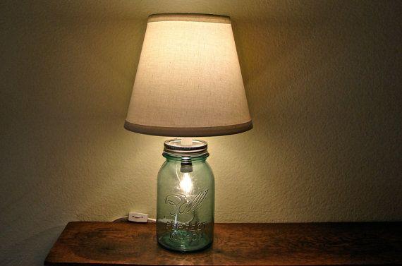 Discount Vintage Blue Mason Jar Table Lamp Two Bulbs Works As Nightlight Or Lamp On Etsy 40 00 Jar Table Lamp Diy Floor Lamp Handmade Lamps