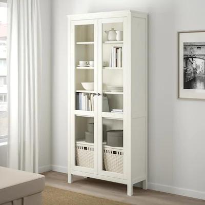 Hemnes Corp Cu Usi De Sticlă Vpst Alb 90x197 Cm Ikea In 2020 Bookcase With Glass Doors Glass Cabinet Doors Hemnes