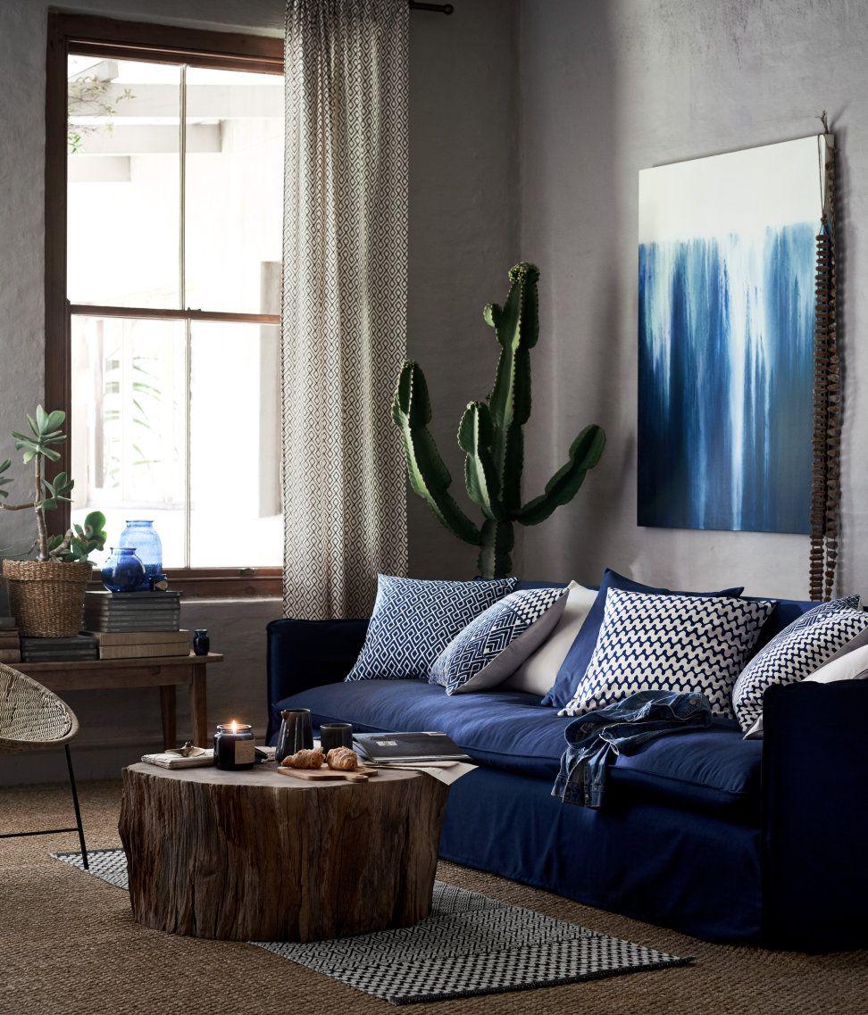 Mønstret pudebetræk   Hvid/Mørkeblå   Home   H&M DK