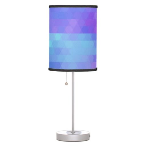 Abstract Geometric Lamp, Purple, Aqua, Lavender Desk Lamp