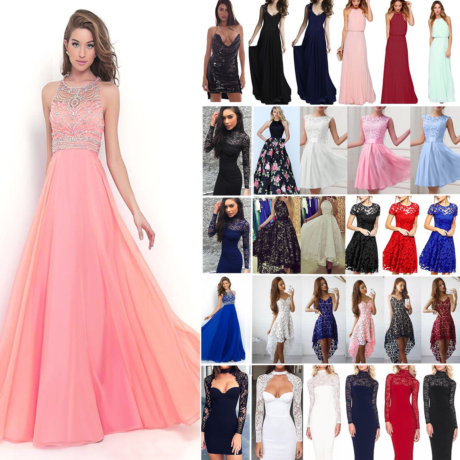 Women Lace Formal Dress Wedding Evening Ball Gown Party Cocktail ...