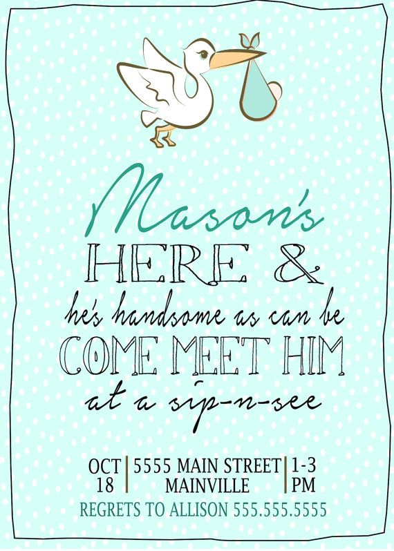 Stork SipnSee Invitation digital file by PaperLaneDesign on Etsy