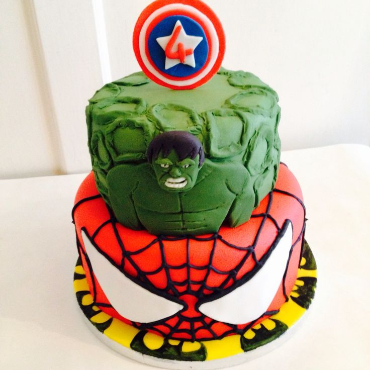 Marvel Cake Including Spiderman Hulk Batman And Captain America