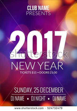new year party design banner event celebration flyer template bokeh