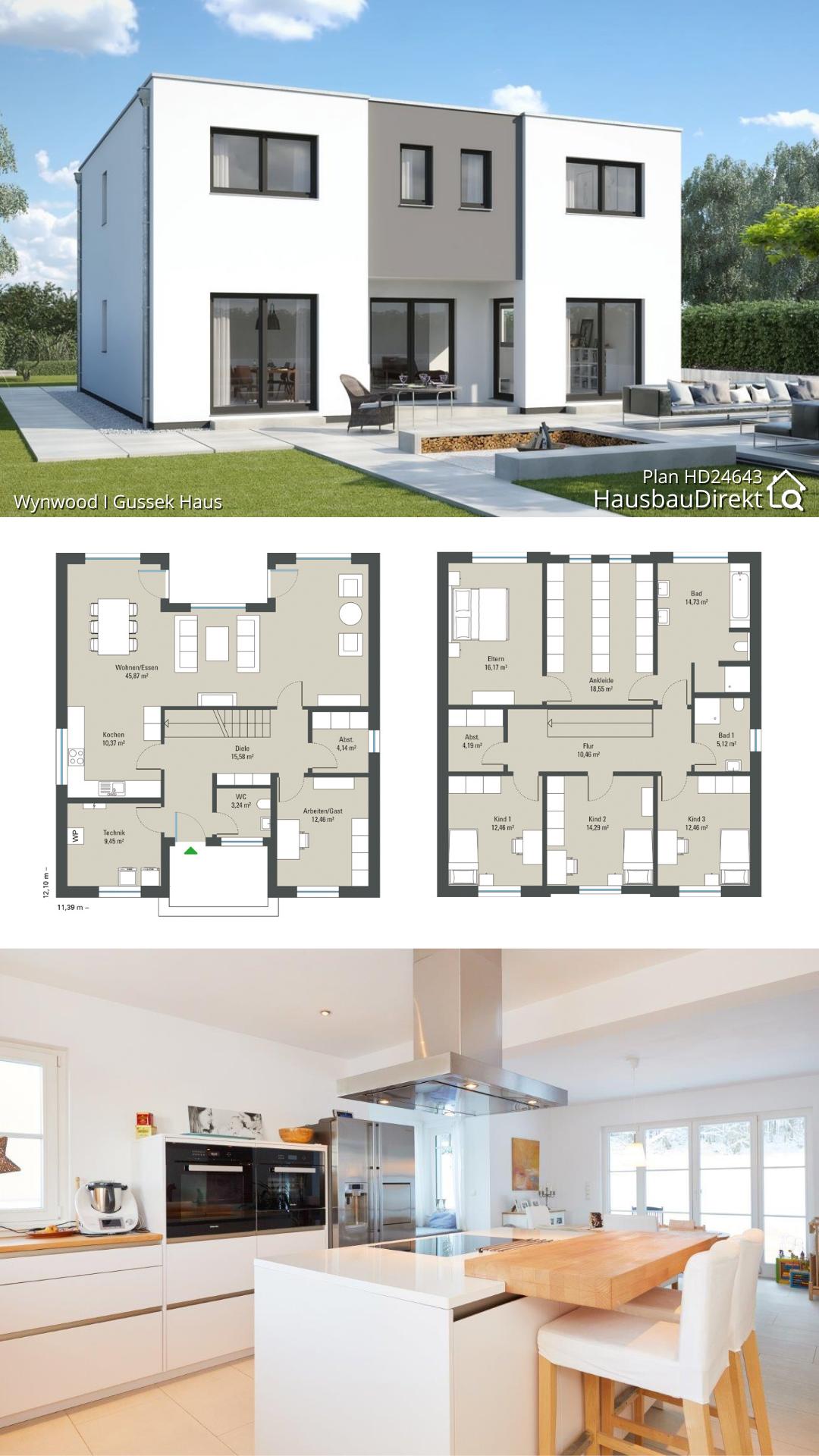 Modernes Einfamilienhaus mit Flachdach & offenem Haus Grundriss bauen Fertighaus Ideen 210 qm groß