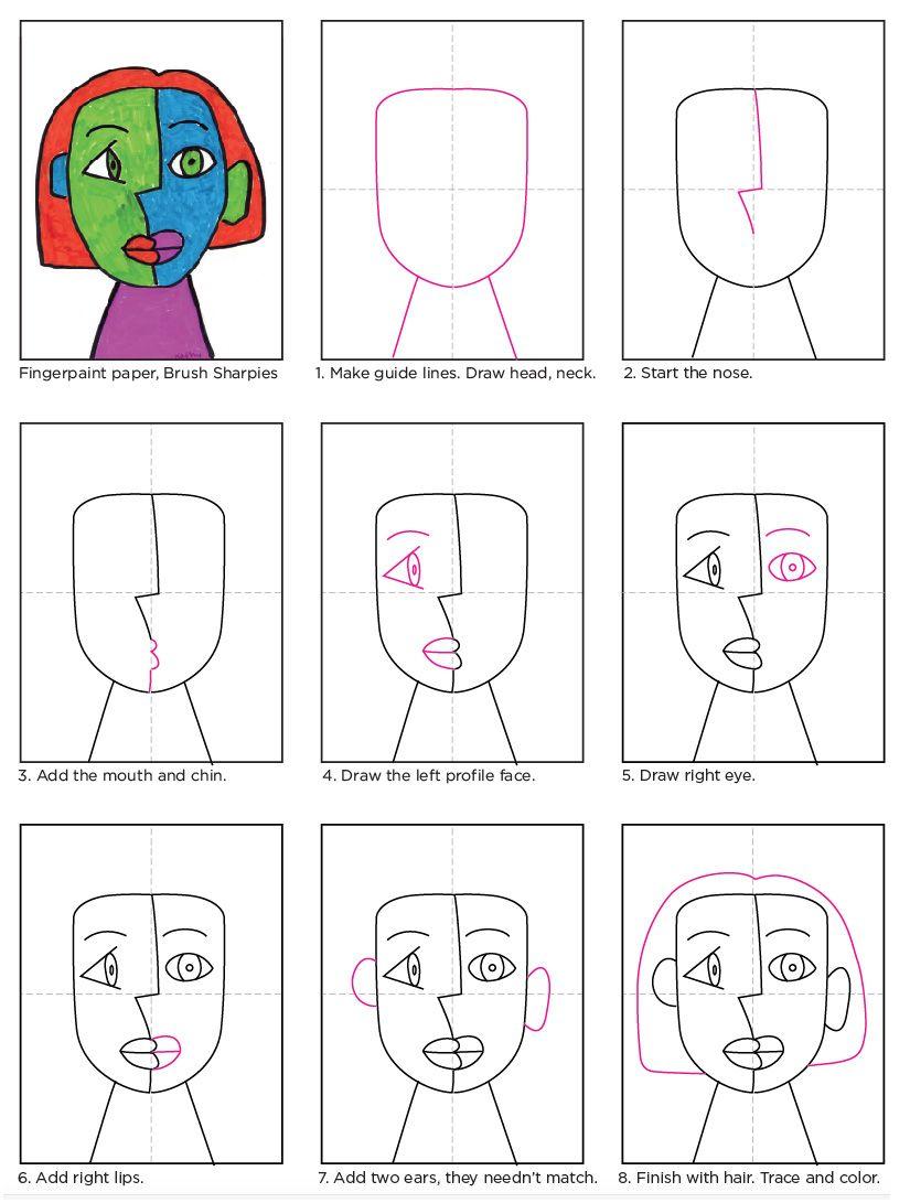 Marker Cubism Face #artanddrawing