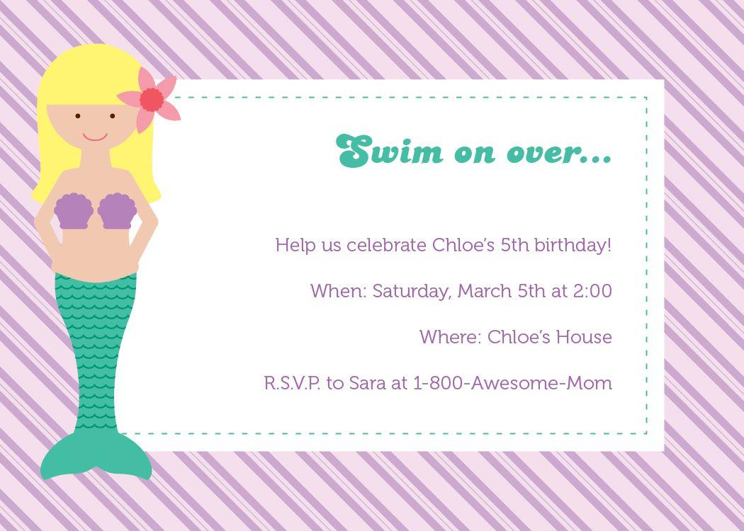 Mermaidnddraftjpg Mermaid Party Pinterest - Party invitation template: little mermaid party invitations templates