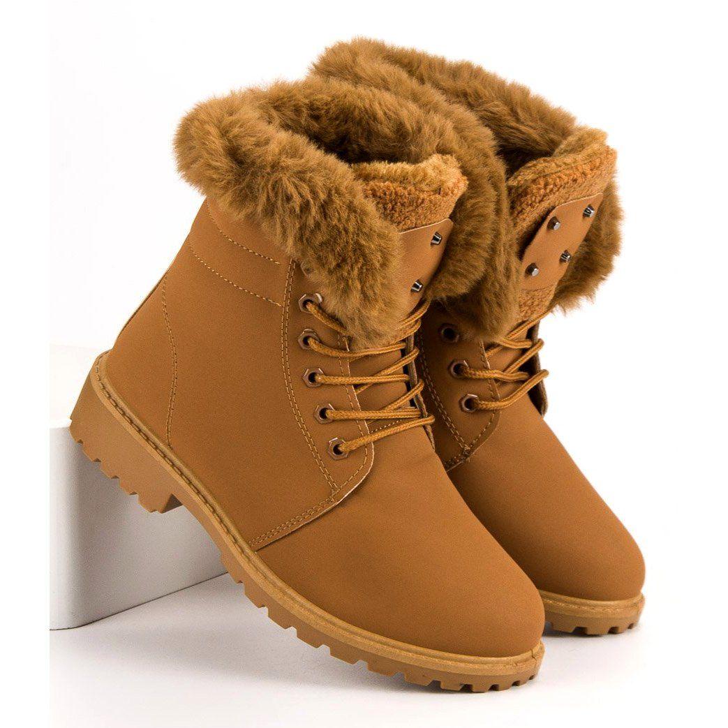 Botki Damskie Butymodne Brazowe Camelowe Traperki Z Futerkiem Timberland Boots Shoes Winter Boot