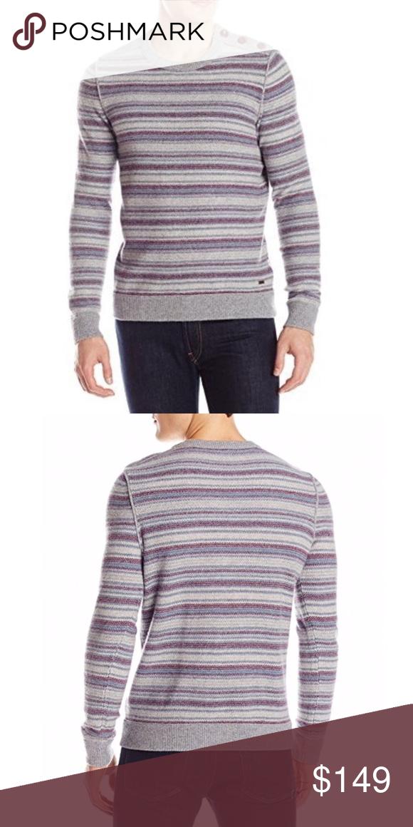 501315f9 HUGO BOSS Men's SweaterHOST PICK BOSS Orange Men's Kord Striped Crew Neck Knit  Sweater, Light/Pastel 48% Virgin Wool/16% Cotton/11% Polyamide/10% ...