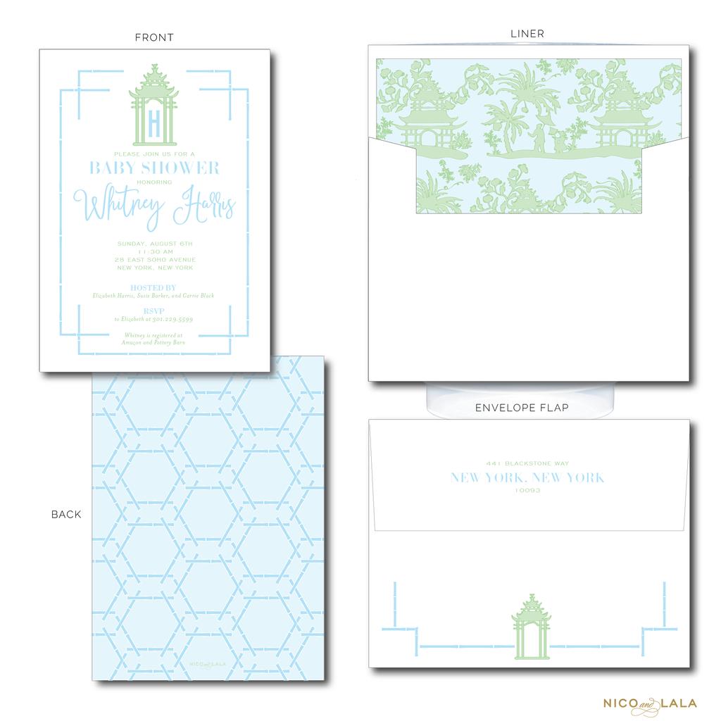 Pagoda Invitations In 2020 Christmas Gift Sticker Invitations Custom Baby Shower Invitations