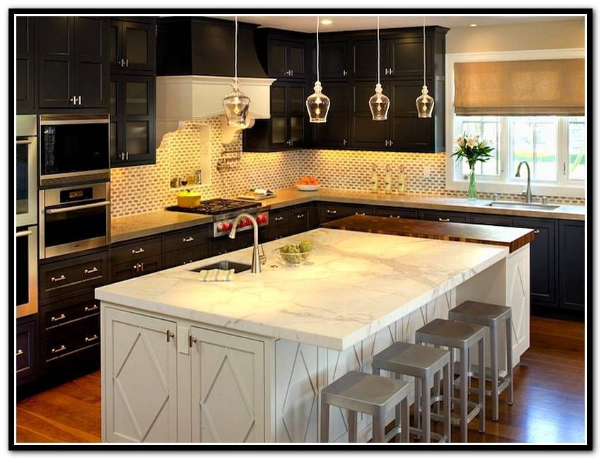 Awesome Espresso Kitchen Cabinets With White Island