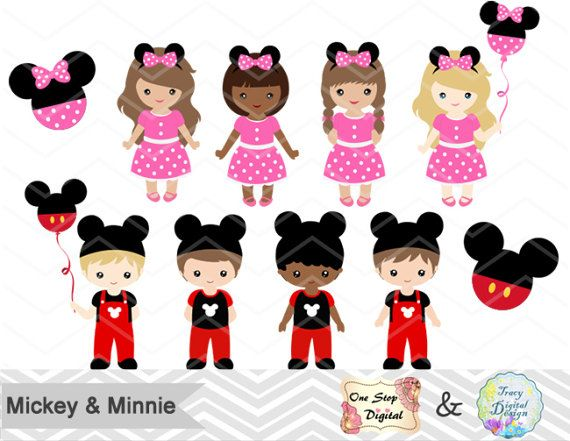 Digital Mickey Minnie Clip Art, Mickey Boy Clip Art, Minnie Girl Clip Art, Mickey Party Boys Clipart, Minnie Party Girls Clipart 00175