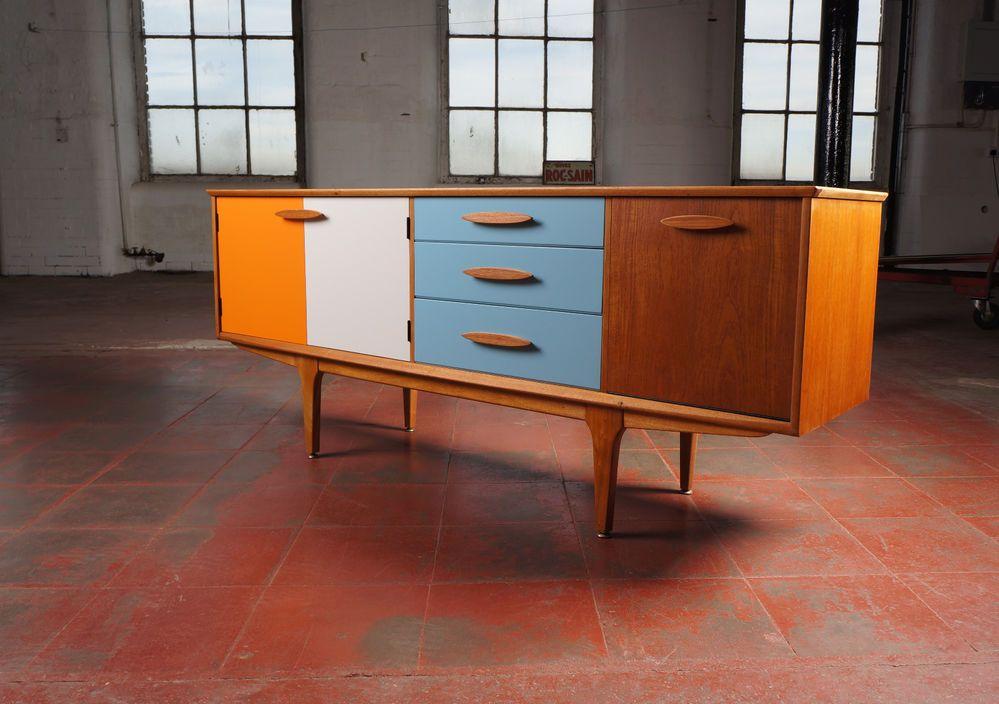 vintage 70s furniture. Elegant Vintage Upcycled Sideboard / Cabinet * Retro 60s 70s Bespoke Painted Furniture