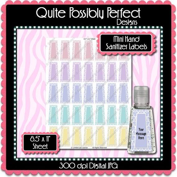 Digital Pastel Lace Editable Mini Hand Sanitizer Label Instant