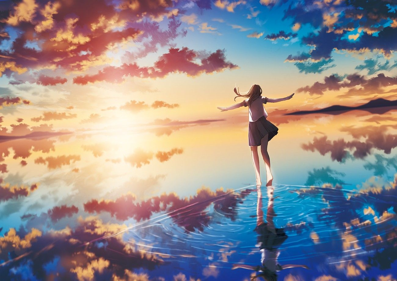 Sea Sunset Sun Clouds Original Characters Anime Girls Reflection