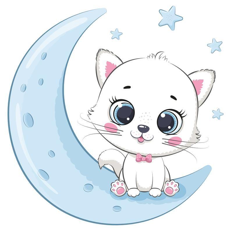 Cute Kitten Clipart Png Eps Jpeg Cat Clipart Moon Sleep Etsy In 2021 Cute Baby Cats Cute Cartoon Wallpapers Cat Clipart