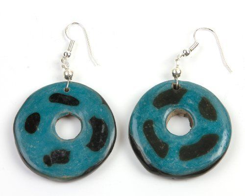 Yahual Chato Ethnic Earrings - Turquoise Spots  http://www.enloops.com/Yahual-Chato-Ethnic-Earrings-Turquoise/dp/B009I9FXEC