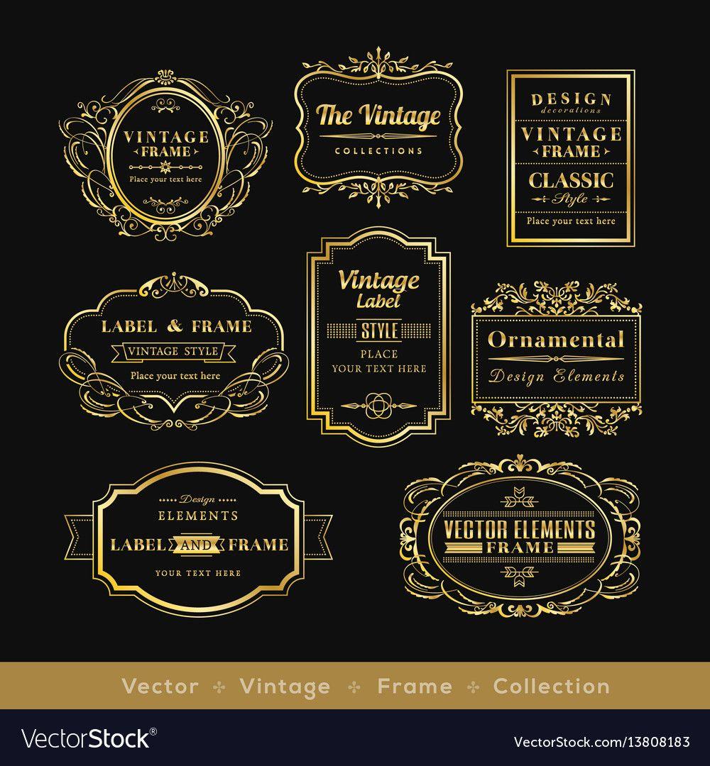 Vinage Gold Retro Logo Frame Badge Design Element Vector Image On Vectorstock Retro Logos Retro Logo Vector Free
