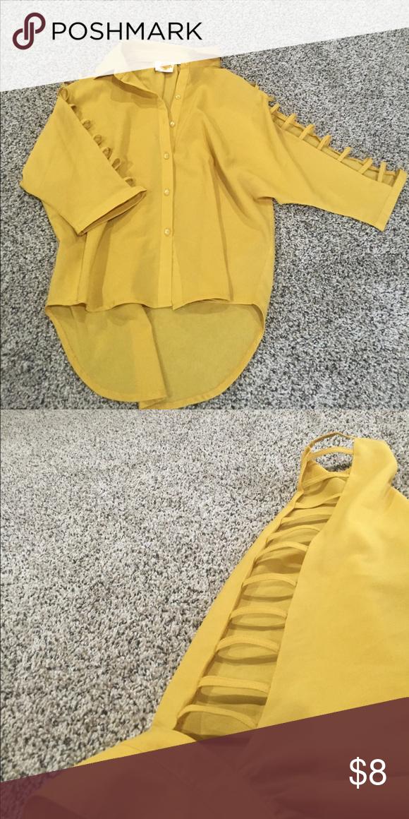 Yellow chiffon top wit sleeve cut outs Mustard Yellow top with sleeve cutouts. Never worn! Tops