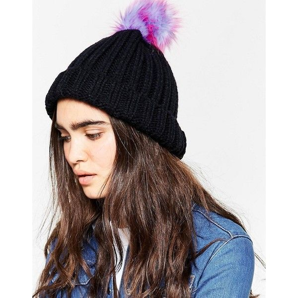 7X Knitted Beanie Hat With Rainbow Faux Fur Pom Pom ( 12) ❤ liked on  Polyvore featuring accessories 43dacbd8092