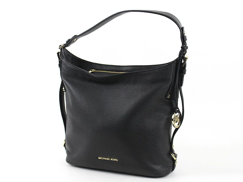 4914cc8c0de6 Michael Kors Pebbled Leather Bedford Belted Shoulder Bag Purse Black   MichaelKors  ShoulderBag