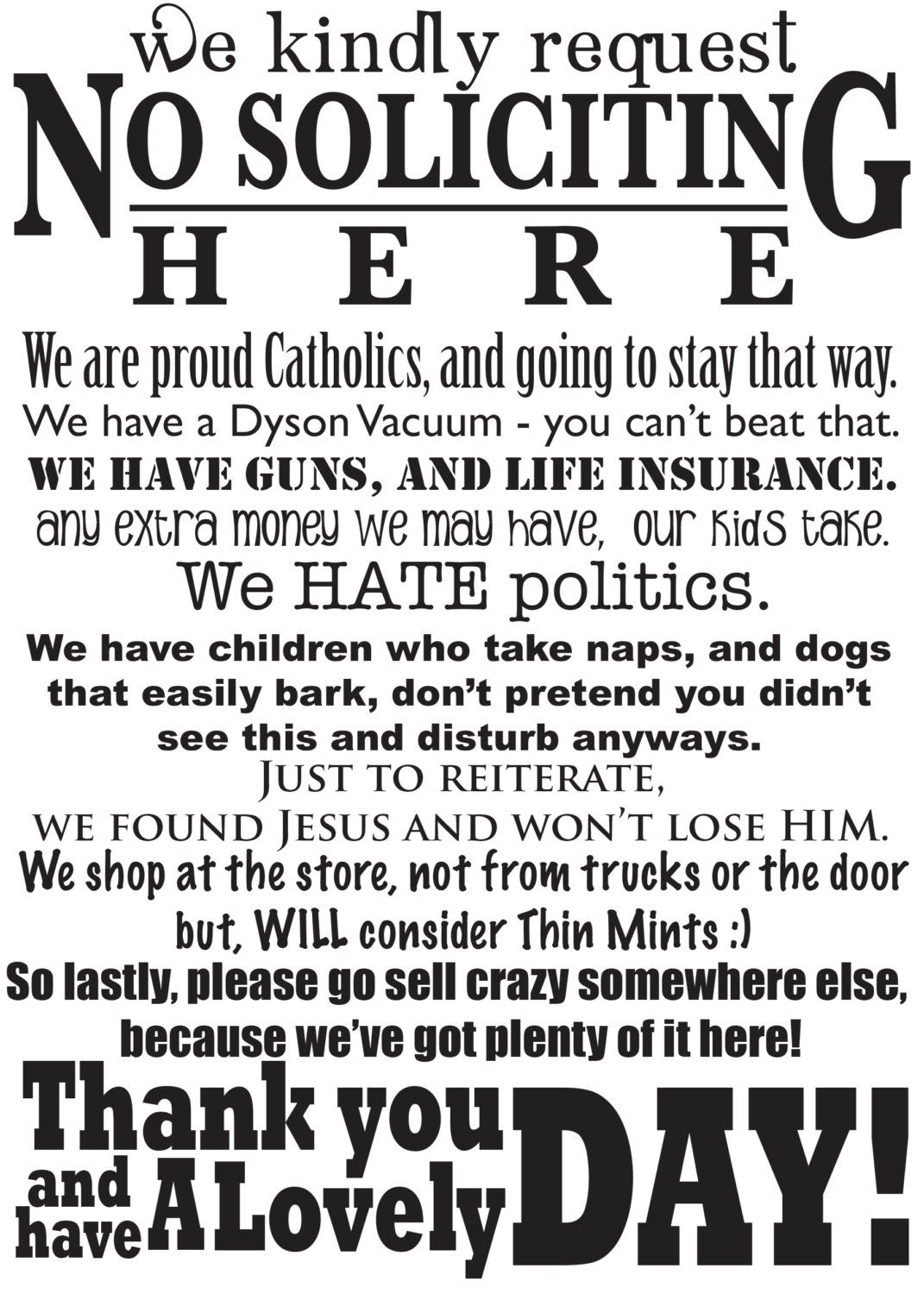 photo relating to Funny No Soliciting Sign Printable referred to as Humorous No Soliciting Signal Matte Craft Vinyl by means of