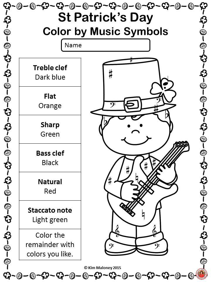 St Patrick's Day Music Coloring Sheets: 20 Music Coloring