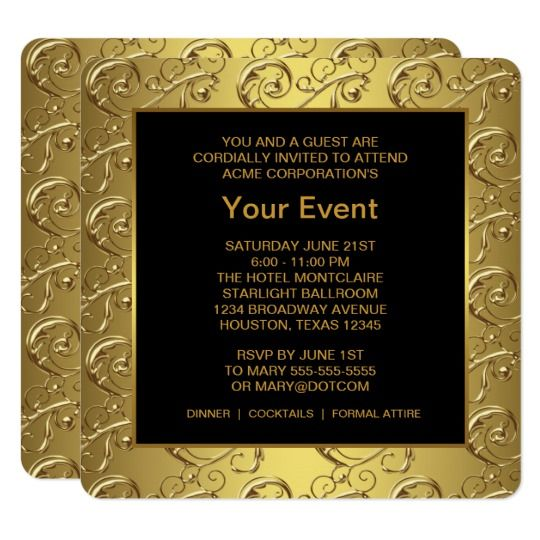 Gold And Black Corporate Party Event Card  Gold And Black