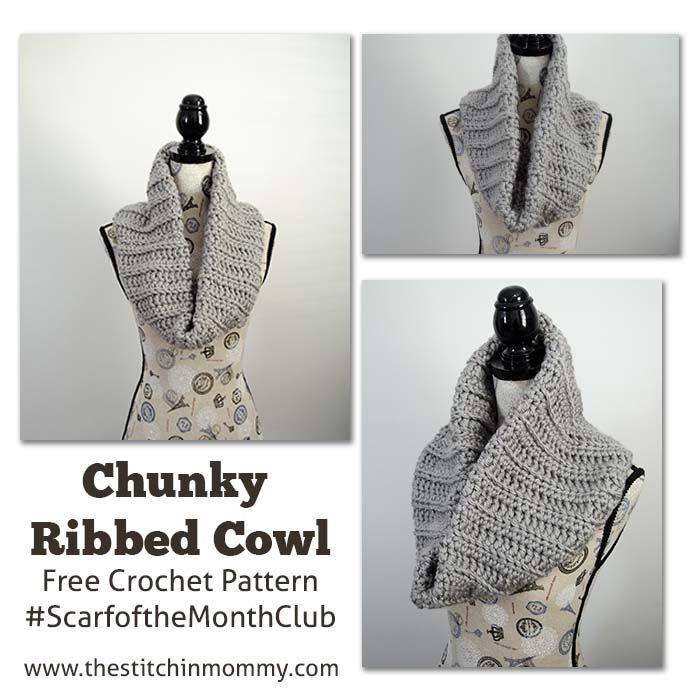 Crochet Chunky Ribbed Cowl, http://www.amyscrochetpatterns.com/2016 ...