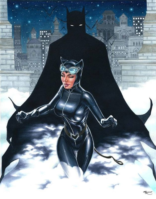 Batman and Catwoman  Comic Art.  to see more of this artist's work or contact: instagram or twitter @RhiannonDrewIt.
