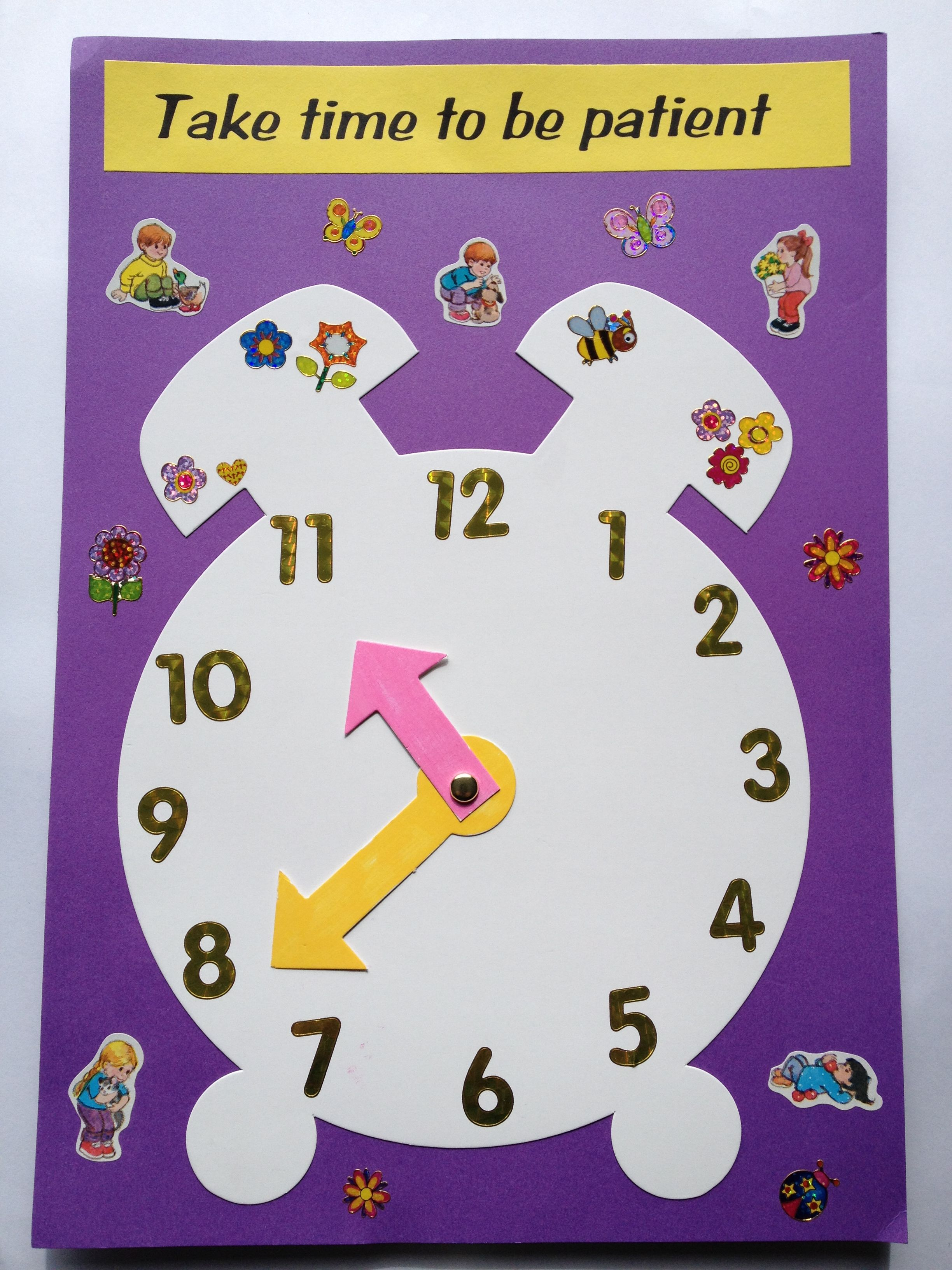 An easy craft using clock template to illustrate a lesson on patience. Bible  Crafts For