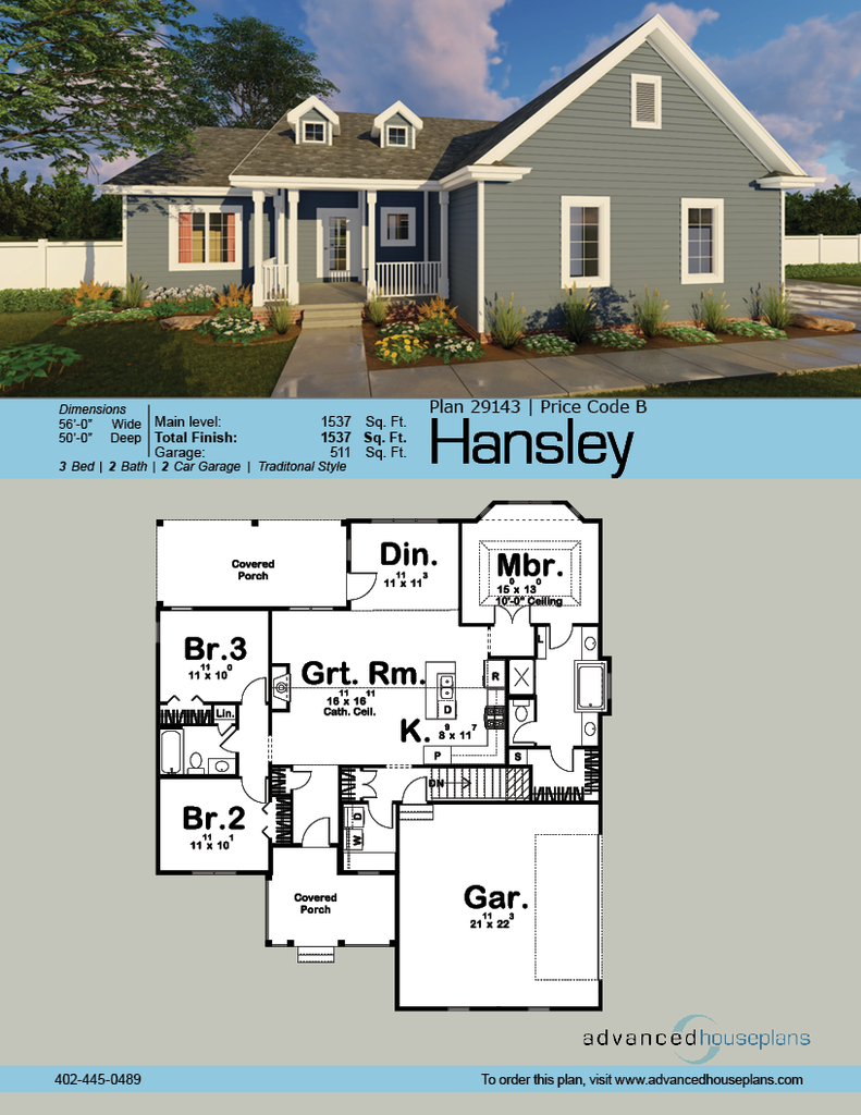 1 Story Traditional House Plan Hansley House Plans Advanced House Plans Modern Farmhouse Plans