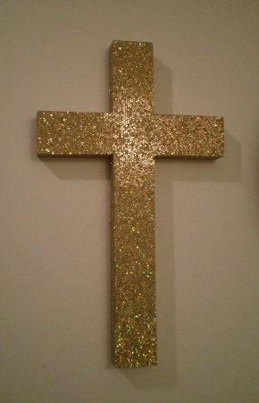 Gold Glitter Cross Sparkling Antique By Lauriebcreations 9 00