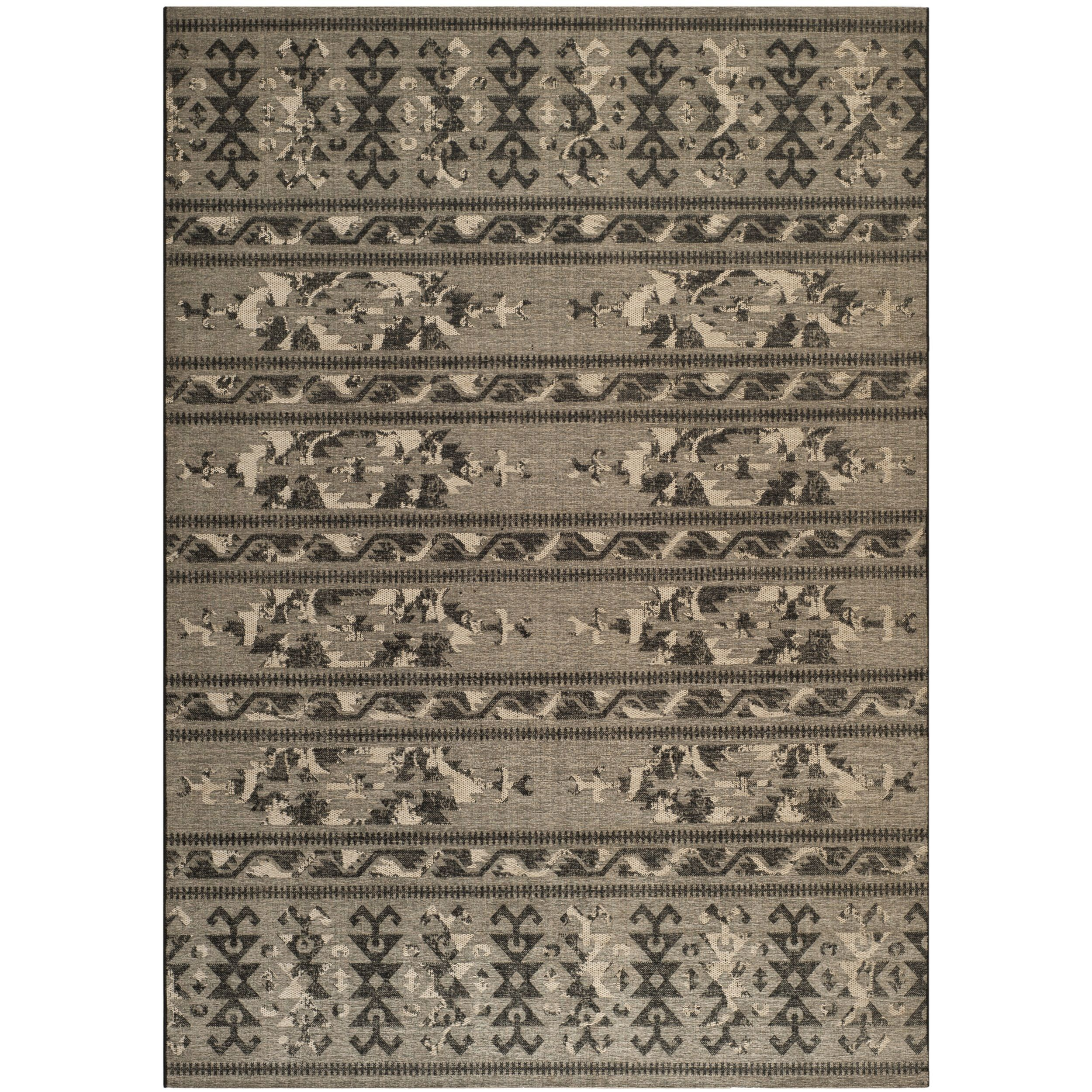 Safavieh Palazzo Black/ Beige Over-dyed Chenille Rug (8' x 11') (PAL125-56C2-8), Brown, Size 8' x 11'