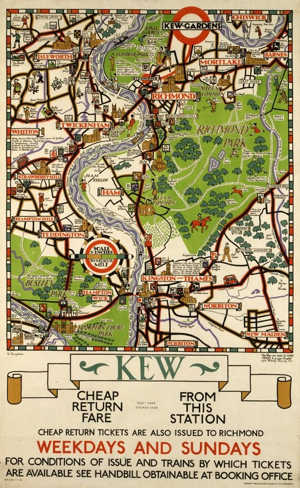 Kew Map Tea Towel Royal Botanical Gardens England from the map by