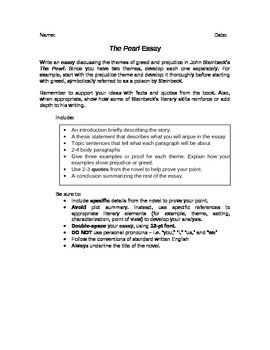 The Pearl Essay  Teacherspayteachers  Pearls Rubrics Graphic  This Essay Based On The Pearl By John Steinbeck Asks Students To Analyze The  Themes Of Greed And Prejudice In The Novella Includes Brainstorming  Graphic