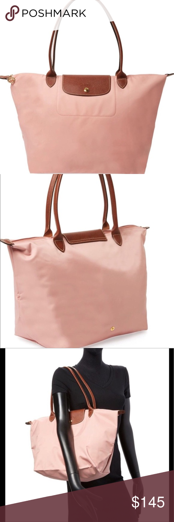 """Longchamp """"Pinky"""" Le Pliage bag L w long handles The folding bag from  Longchamp in size L with long handles in color PINKY. Longchamp Bags  Shoulder Bags 13976f9d00"""
