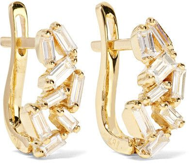18-karat Gold Diamond Hoop Earrings - one size Suzanne Kalan