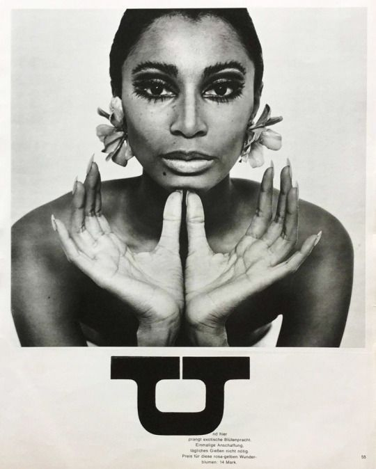 Photo of Charlotte March, jewelry editorial with Donyale Luna for Twen magazine, 1966. …..