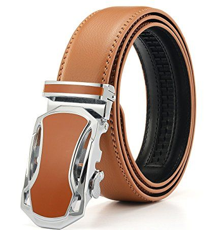 Xhtang Men's Car Buckle with Automatic Ratchet Leather Belt