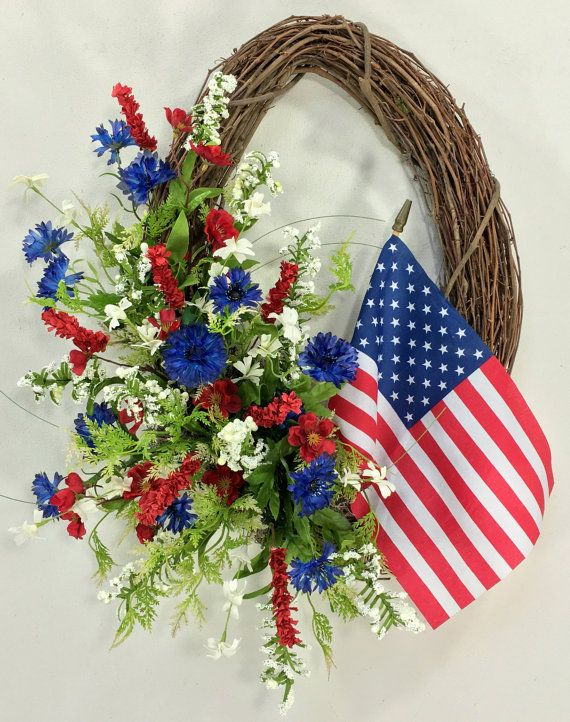 Americana Wreath Patriotic Wreath 4th Of by CrookedTreeCreation