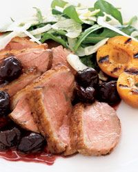 Duck Breast with Fresh Cherry Sauce and Grilled Apricots - CHERRIES AND DUCK. (And apricots.)