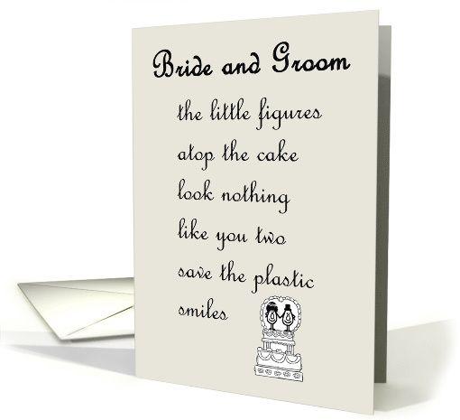 Bride And Groom A Funny Wedding Marriage Congratulations Poem Card Wedding Poems Wedding Humor Congratulations Card