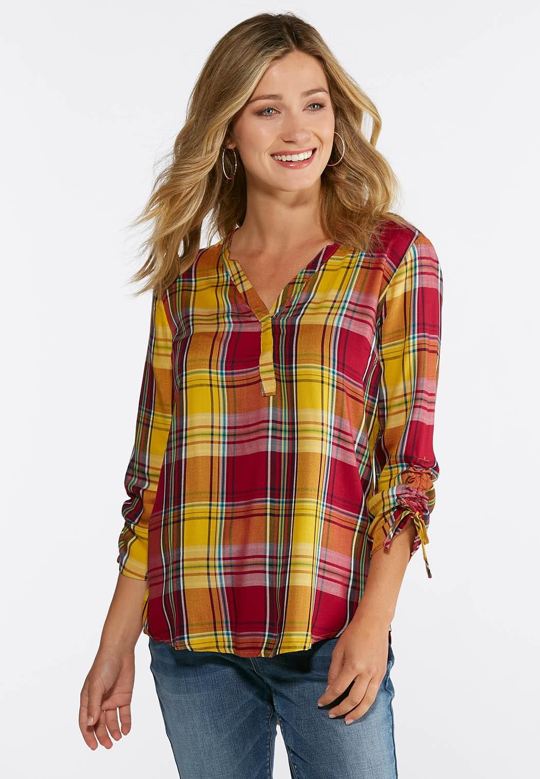 0994f9aad3c Plus Size Golden Plaid Pullover Top Shirts   Amp   Blouses Cato ...