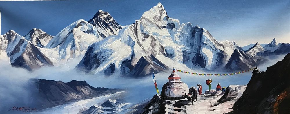 Mount Everest From Base Camp Original Knife Painting With Acrylics In Canvas Illustrationa Mountain Painting Acrylic Acrylic Painting Acrylic Painting Canvas