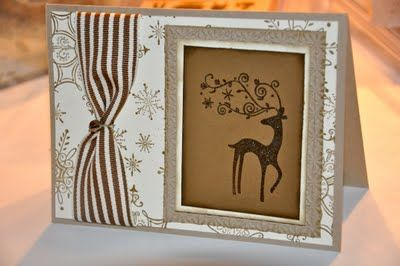 Embossed Christmas card with jingle bell. Stampin' UP! - Dasher, Serene Snowflakes