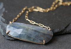 Natural Rose Cut Blue Sapphire Necklace :: AR