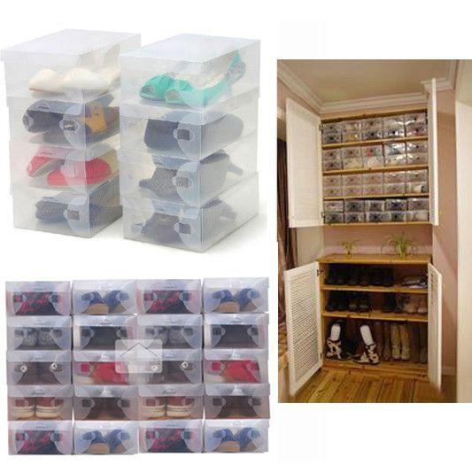10x Transparent Clear Plastic Shoe Boxes
