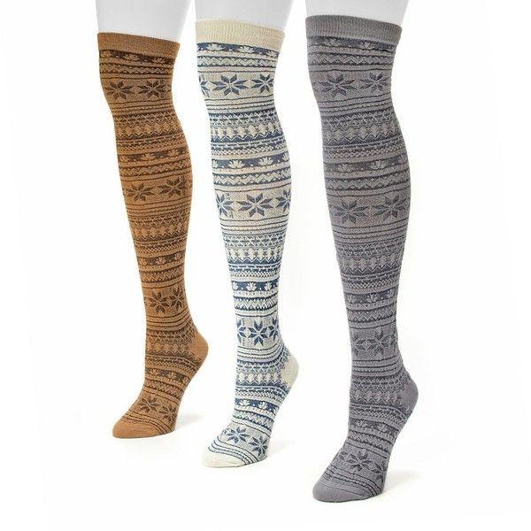 MUK LUKS 3-pk. Women's Fairisle Microfiber Over-The-Knee Socks (98 ...